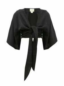Anaak - Anneka Tie-front Cropped Cotton Blouse - Womens - Black