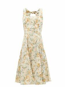 Ephemera - Troika Cutout-back Floral-print Linen Dress - Womens - Yellow Multi