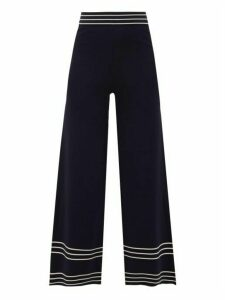 Odyssee - Rowland Striped Jersey Trousers - Womens - Navy White
