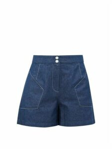 Marysia - Jitney High-rise Denim Shorts - Womens - Blue