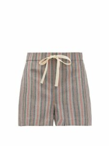 Jil Sander - Drawstring Striped Wool-blend Shorts - Womens - Grey Stripe