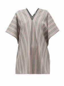 Jil Sander - V-neck Striped Wool-blend Tunic Top - Womens - Grey Stripe