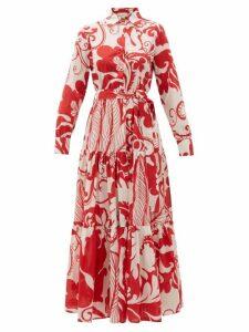 La DoubleJ - Bellini Floral-print Cotton-voile Maxi Dress - Womens - Red Print