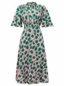 La DoubleJ - Joan Moses-print Front-slit Crepe Dress - Womens - Pink Print