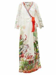 Camilla - Faraway Tree Silk Wrap Dress - Womens - White Multi