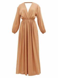 Matteau - The Open Back Plunge Maxi Dress - Womens - Light Brown
