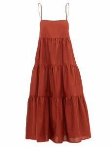 Matteau - The Tiered Cotton Dress - Womens - Dark Red