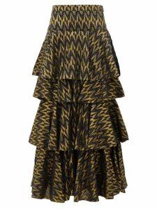 Rhode - Audrey Tiered Cotton-blend Brocade Skirt - Womens - Black Multi