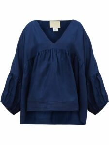 Anaak - Airi Silk-habotai Blouse - Womens - Navy
