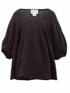 Anaak - Brigitte Babydoll Scoop-neck Cotton Top - Womens - Black