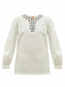 Le Sirenuse, Positano - Vera Embroidered Cotton-poplin Blouse - Womens - Cream