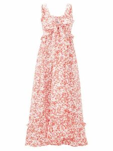 Thierry Colson - Valentina Abstract-print Cotton Maxi Dress - Womens - Red