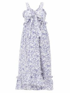 Thierry Colson - Valentina Abstract-print Cotton Maxi Dress - Womens - Blue