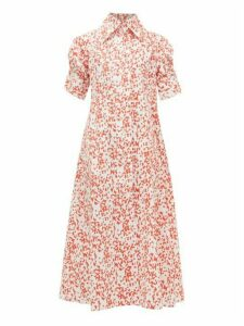 Thierry Colson - Tifenn Wide-collar Abstract-print Cotton Dress - Womens - Red