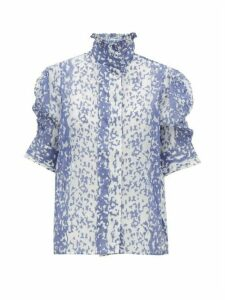 Thierry Colson - Vita Ruffle-neck Cotton-blend Blouse - Womens - Blue