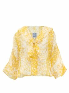 Thierry Colson - Viola Chanderi Abstract-print Cotton-blend Blouse - Womens - Yellow