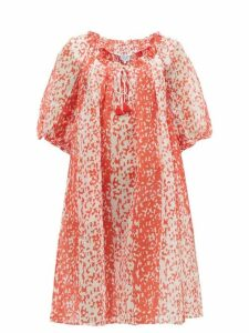 Thierry Colson - Eva Animal-print Cotton-blend Dress - Womens - Red