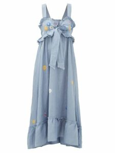 Thierry Colson - Valentina Floral-embroidered Cotton Maxi Dress - Womens - Blue Print