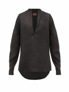 Albus Lumen - Alois V-neck Linen Shirt - Womens - Black