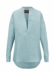 Albus Lumen - Alois Oversized Linen Shirt - Womens - Light Blue