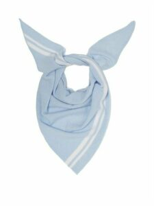 Allude - Triangle Knitted-cashmere Scarf - Womens - Light Blue