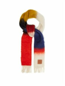 Loewe - Anagram Logo-patch Mohair-blend Scarf - Womens - Red
