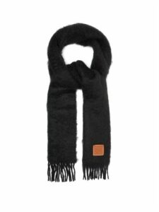 Loewe - Anagram Logo-patch Mohair-blend Scarf - Womens - Black