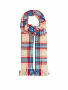 Isabel Marant - Carver Checked Cashmere Blanket Scarf - Womens - Blue Multi