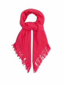 Isabel Marant - Zila Fringed Cashmere And Wool-blend Scarf - Womens - Pink