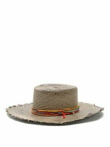 House Of Lafayette - Reed Striped Straw Panama Hat - Womens - Black Stripe