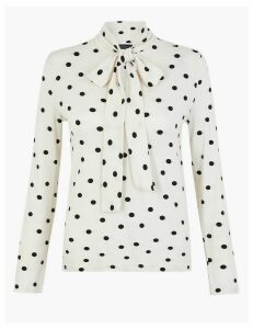 M&S Collection Polka Dot Tie Neck Top