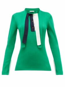 Palmer//harding - Revan Tie-neck Cotton And Modal Jersey Sweater - Womens - Green