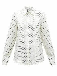 Gabriela Hearst - Mirtha Polka-dot Pintuck-pleat Silk Shirt - Womens - Navy White