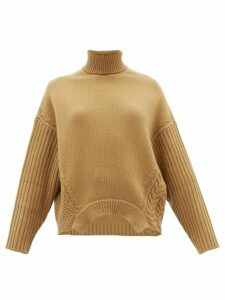 Golden Goose - Roll-neck Cable-knit Wool Sweater - Womens - Camel