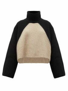 Khaite - Marianna Two-tone Cashmere Roll-neck Sweater - Womens - Black Cream