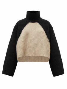Khaite - Marianna Two-tone Cashmere Roll-neck Sweater - Womens - Black Cream