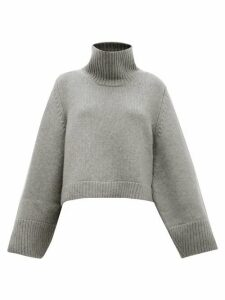Khaite - Marion High-neck Split-cuff Cashmere Sweater - Womens - Grey
