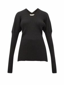 Bottega Veneta - V-neck Ribbed Wool Sweater - Womens - Dark Grey