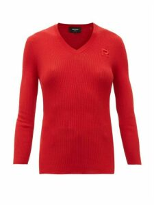Rochas - Ribbed-knit Cotton Sweater - Womens - Red