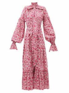 The Vampire's Wife - The Kaftan Liberty-print Cotton Dress - Womens - Pink White