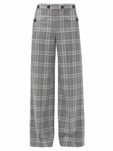 Roland Mouret - Palmetto Checked Wool Wide-leg Trousers - Womens - Blue Multi