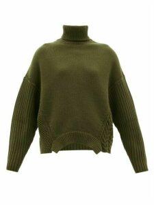 Golden Goose - Oversized Roll-neck Merino Wool Sweater - Womens - Khaki