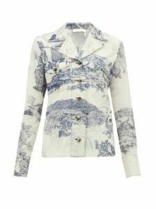 Chloé - Toile De Jouy-print Silk Blouse - Womens - Blue White