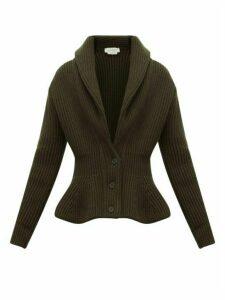 Alexander Mcqueen - Mcqueen Shawl-collar Wool-blend Cardigan - Womens - Khaki