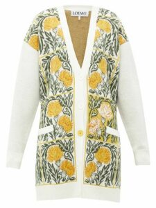Loewe - Flower-jacquard Wool-blend Cardigan - Womens - White Print