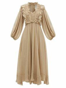Ssone - Spirit Ruffled Crinkled-voile Midi Dress - Womens - Grey