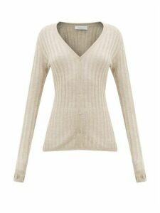 Gabriela Hearst - Homer Jaipur Ribbed-knit Cashmere-blend Cardigan - Womens - Beige