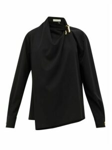 Bottega Veneta - Draped Wool-twill Blouse - Womens - Black