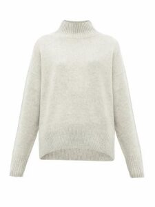 Allude - High-neck Cashmere Sweater - Womens - Light Grey