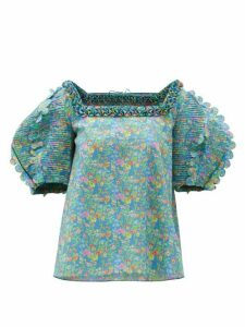 Horror Vacui - Isabella Scalloped Floral-print Cotton Blouse - Womens - Blue Multi